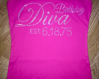 Hot pink birthday diva shirt with date. Birthday diva established year shirt. Adult birthday tshirt . Ladies birthday lace tank top .