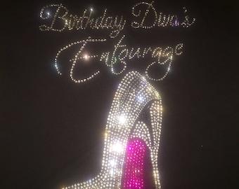 Birthday diva entourage hot pink bottom shoe. Glitzy bling birthday tshirt . Birthday party destination shirts . Birthday entourage tanks .