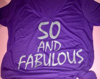 50 and fabulous shirt / birthday shirt women / 50th birthday t shirt / cute birthday shirts / birthday t-shirts for women / fifty shirt
