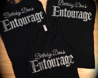 4 Birthday Diva's Shirts- Ladies birthday Diva Rhinestone shirts - Birthday Entourage Shirts - Ladies Birthday Shirts - Birthday t-shirts