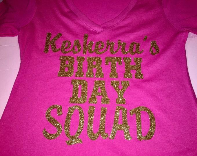 1ddad9124 Gold and hot pink birthday shirt / cute birthday entourage tshirt / custom  name birthday number