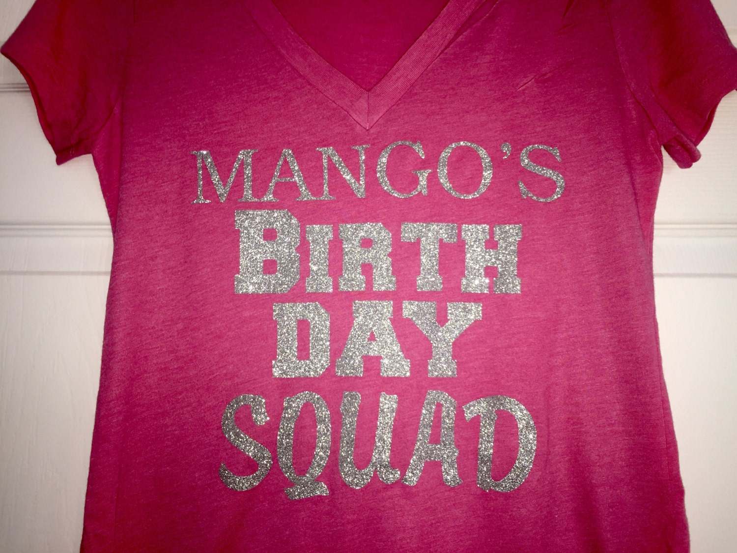 5 Custom Birthday Squad Shirts Adult Ladies T Personalized Hot Pink Black