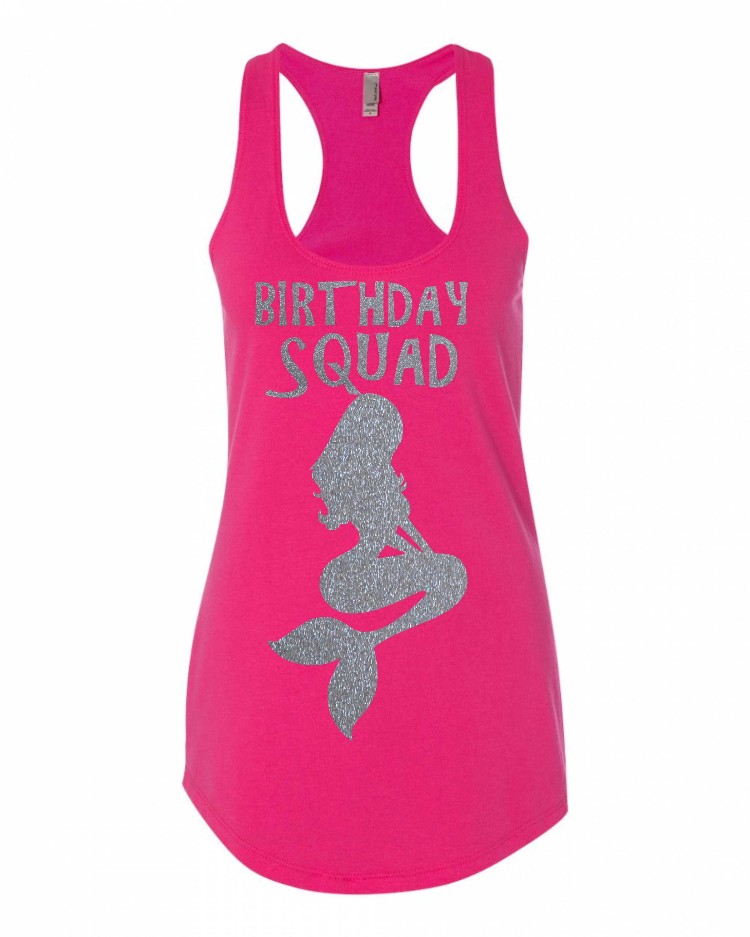 Mermaid Birthday Squad Shirts Cute Sexy Fun Beach Personalized Tanks Island With Glitter Ocean Sand
