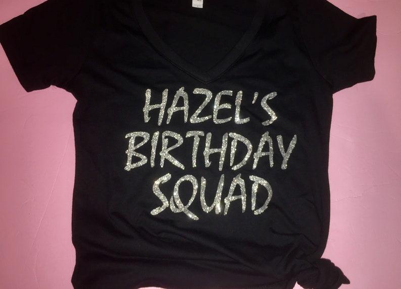 e7926acab Ladies Birthday Squad V Neck Tee Shirts Black and silver   Etsy