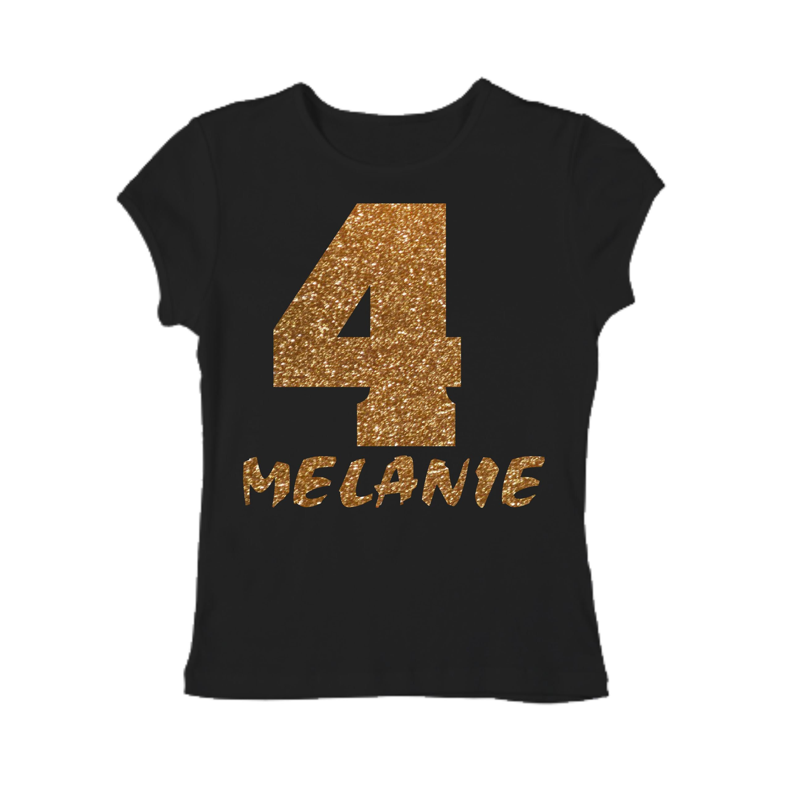 Girls Gold Glitter Birthday Tshirt Shirt Customized Number Shirts Youth 4t 5t 6 7 8 T