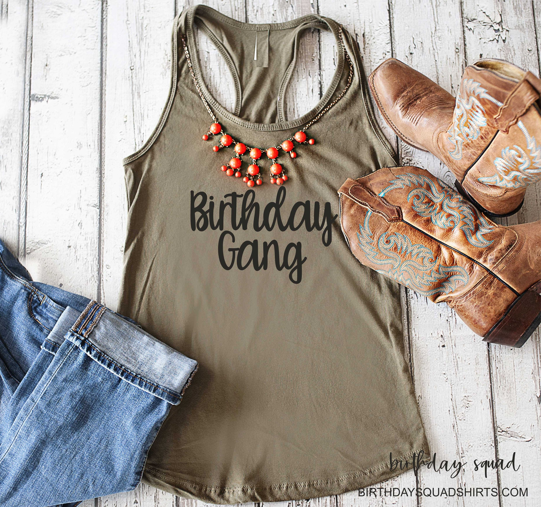 Birthday Gang Shirt Womens Shirts T Tanks Cute Group Tees Bday Top