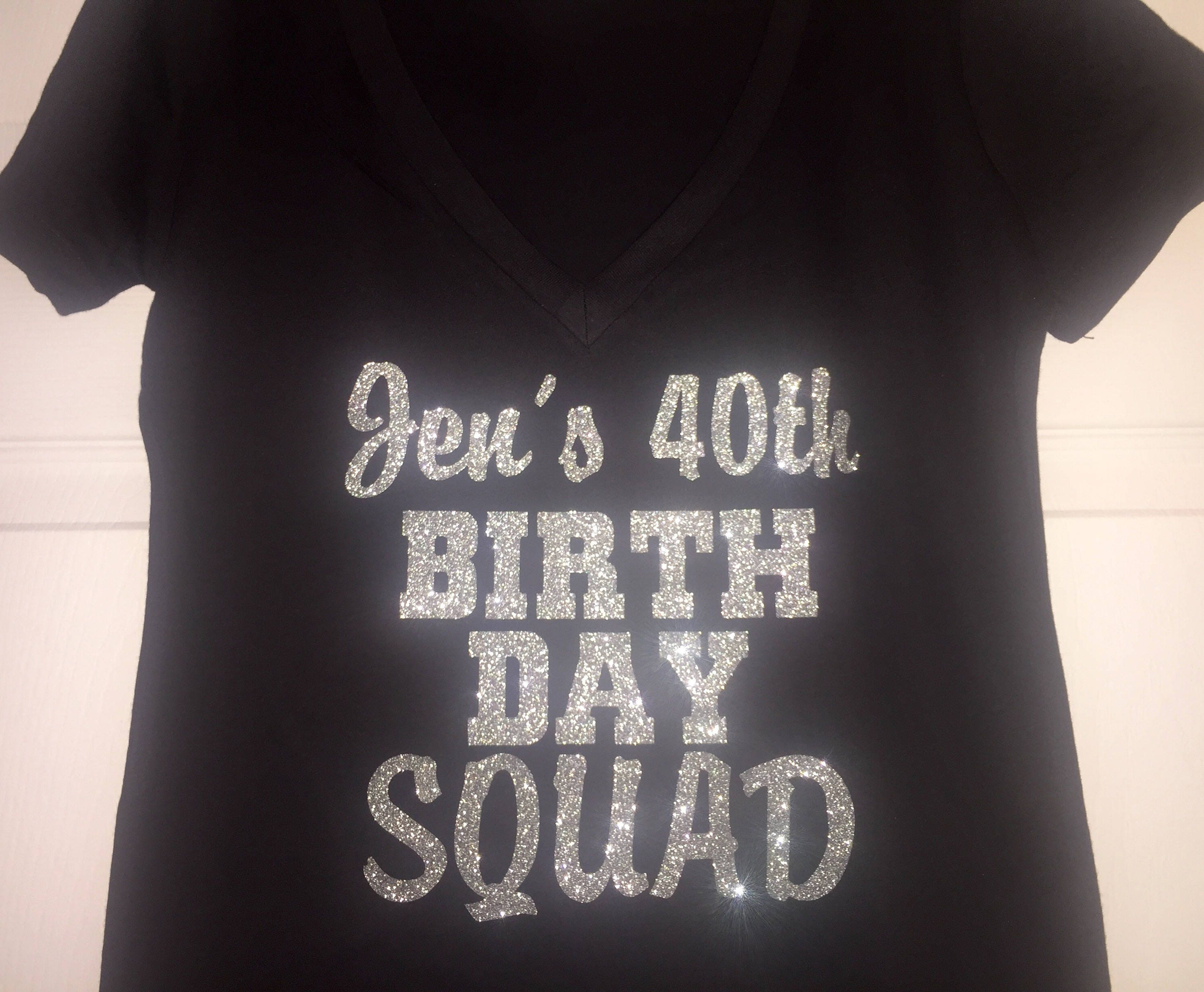 Customized Gold Glitter Birthday SquadTM Shirts Womens