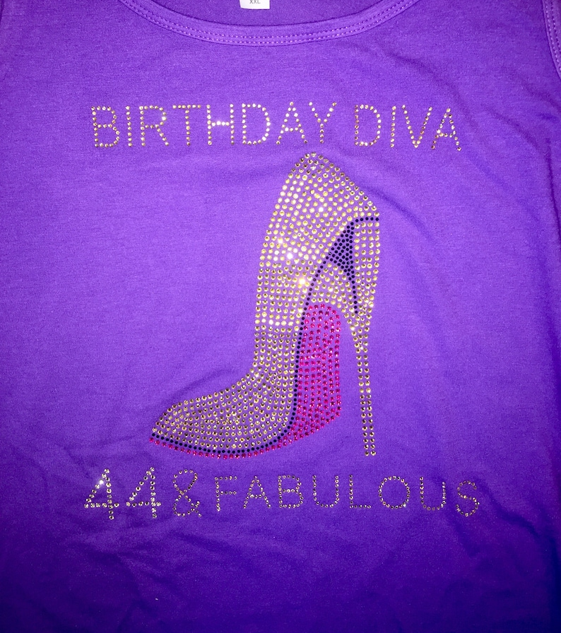 2ebe7e204 44 and fabulous birthday diva shirt ladies bday tee gold | Etsy