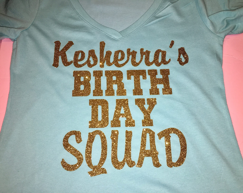 Aqua Birthday Squad Shirt Gold Glitter Custom Birthday Shirt