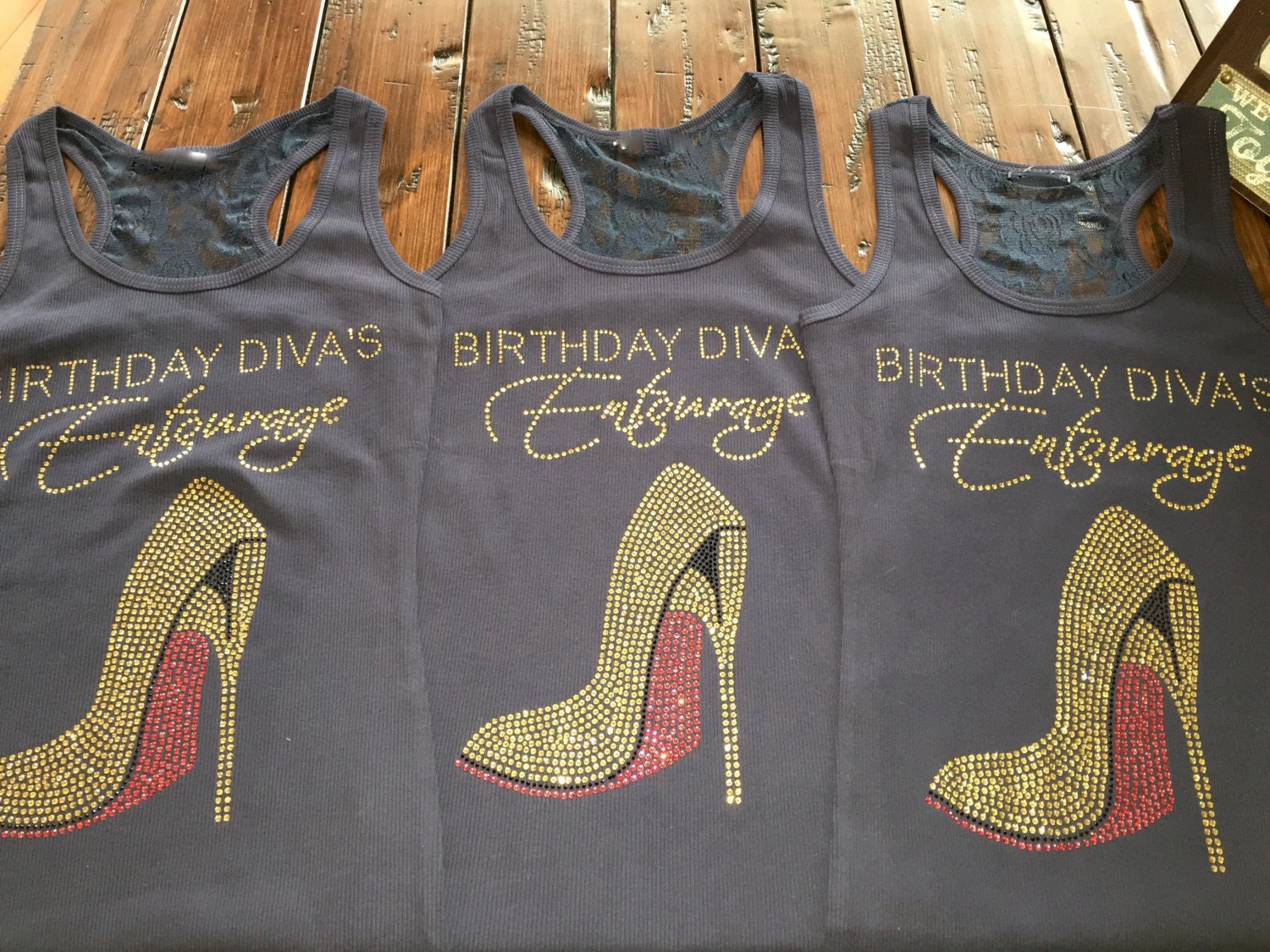 5 Gold Rhinestone Birthday Divas Entourage Shirts Ladies Bling Shirt Adult Plus Sizes