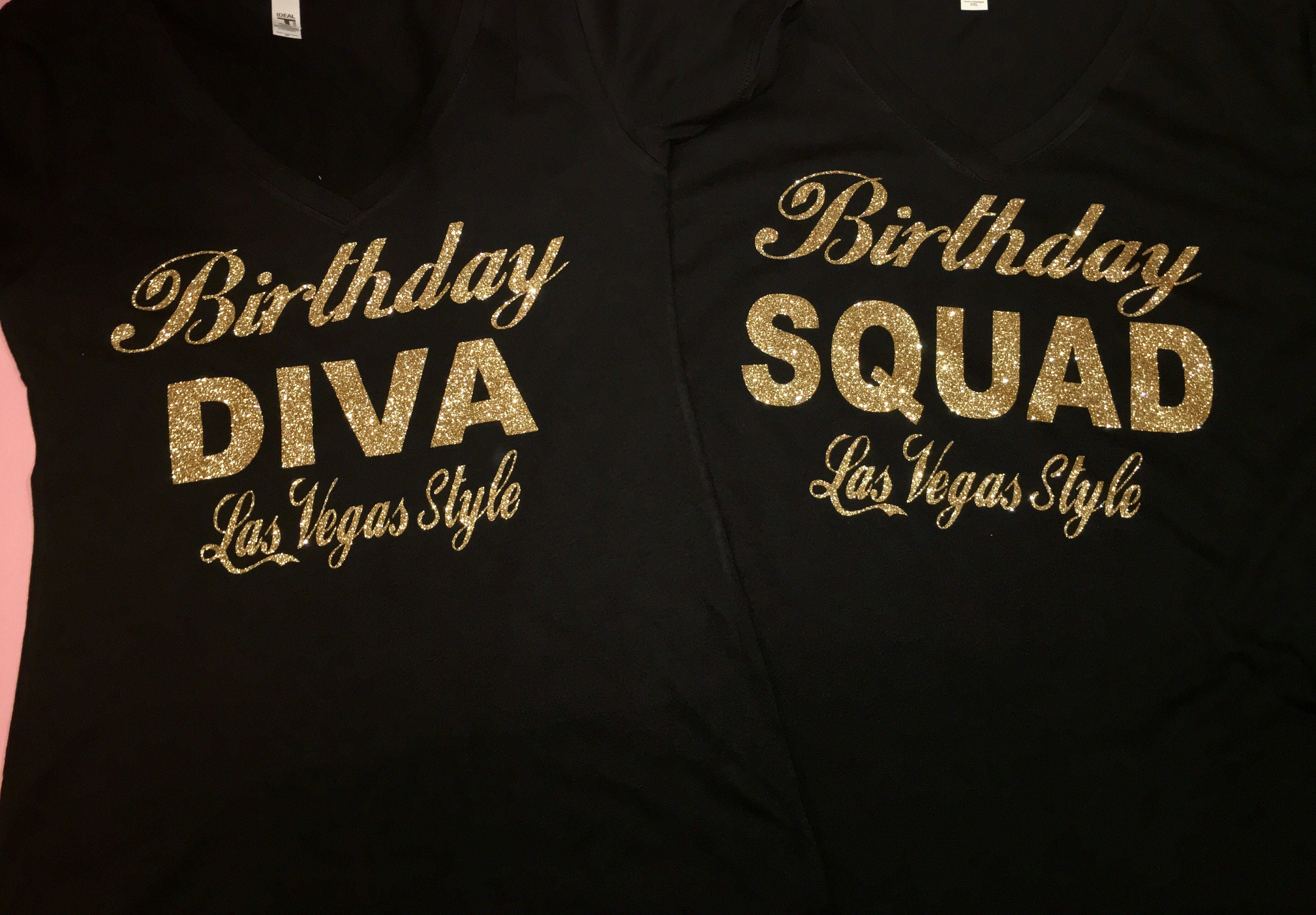 Birthday Squad Shirts For Women Gold Glitter Tshirt Shirt Custom Personalized Style Tees Tops Ladies