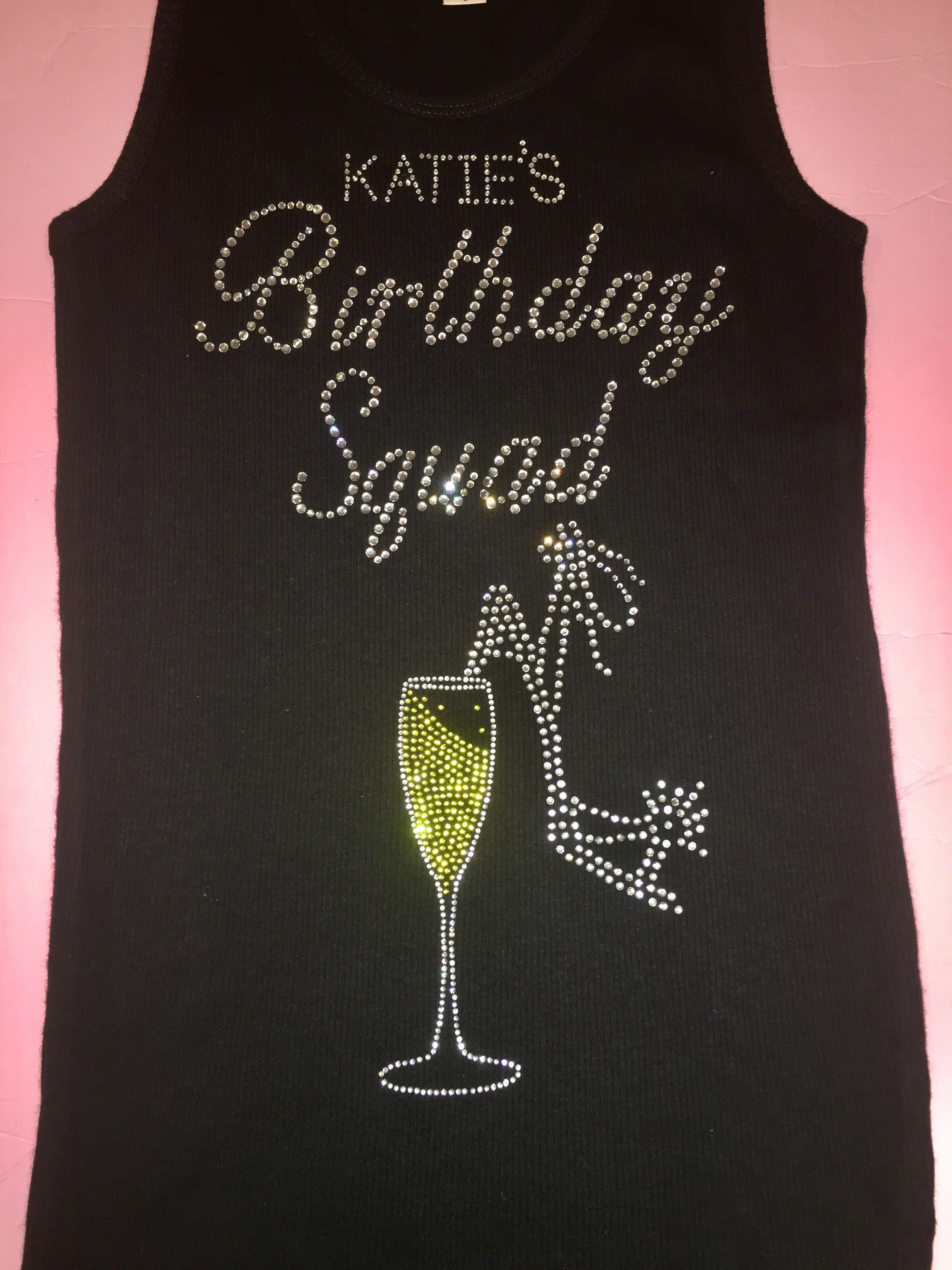 Custom Birthday Shirts Personalized Squad Tshirt Ladies Champagne High Heel Party Bling T Cute Tops
