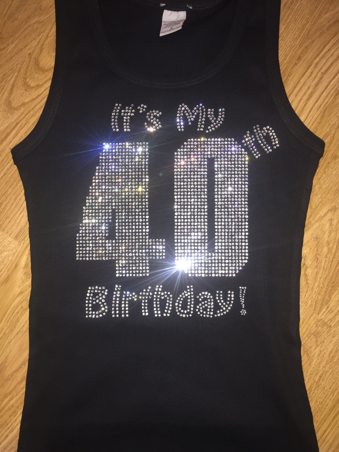 Ladies 40th Birthday Bling Shirt Rhinestone T