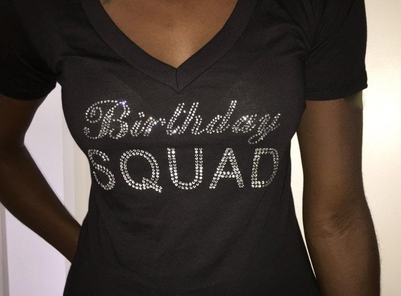 0acd2f9d Birthday Squad V Neck T-Shirt // Ladies Birthday Rhinestone Shirts //  Birthday Tees // Small , Medium, Large , XL, XXL, 2X, 3X