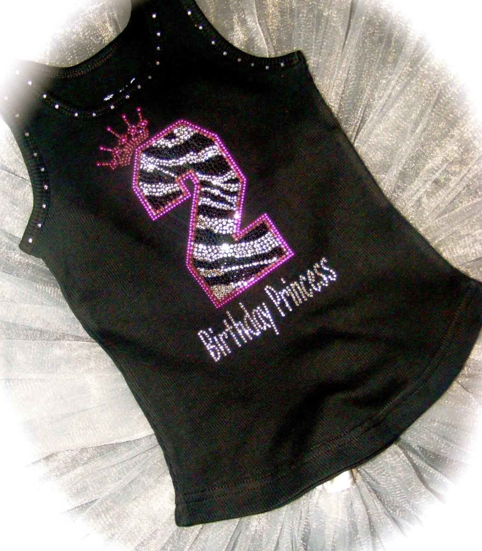 7th Zebra Birthday Shirt 8th 9th Kids Girls Princess Bling