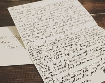 Wedding Day Letter Custom Handwritten Love Calligraphy To My Husband Wife