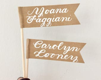 Custom Handlettered Flags, Toothpick Place Cards, Seating Name Tags