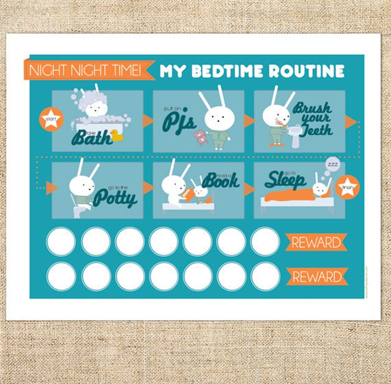 photo relating to Bedtime Routine Chart Printable titled Printable Bedtime Timetable Chart for Boys, Women, Babies, little ones. Blue Bunny Template PDF, Immediate Obtain