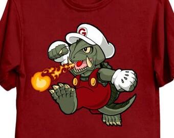GaMario - Kaiju Shirt Mario SNES Super Nintendo Gamera Godzilla T-Shirt Video Game Tee