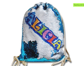 Sport bag Pouch with sequin name - Graffiti