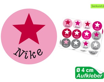 24 name stickers Ø 4 cm - star pink-red-gray