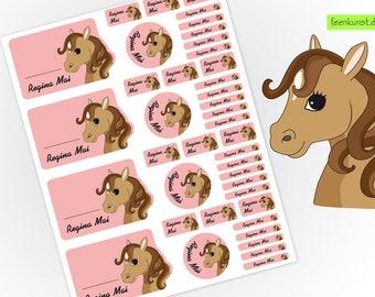 School starter set - horse head - 40 stickers
