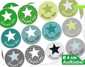 24 name stickers Ø 4 cm - star green-petrol-gray