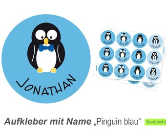 24 name stickers Ø 4 cm - penguins mixed blue