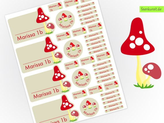 School starter set - toadstool - 40 stickers