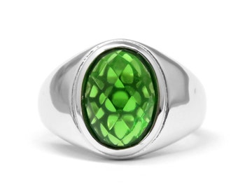 6428 4.5ct. Forest Green Helenite Framed Solitaire Oval Sterling Silver Ring - Free USA Shipping -