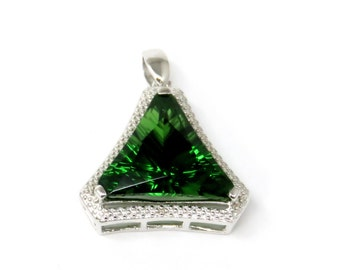 THLP-2712S Trillion Starburst Forest Green Helenite Halo Sterling Silver Pendant - Free Shipping -