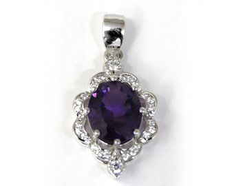 3.34ct Natural Amethyst 9*11mm Oval Sterling Silver Antique-Style Halo Pendant
