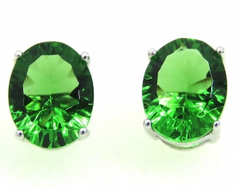 E10810P 4ct Forest Green Oval Helenite Millennium-cut Sterling Silver Earrings