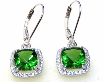 0988L 3.3ct. Forest Green Cushion Helenite Halo Set 925 Sterling Silver Earring