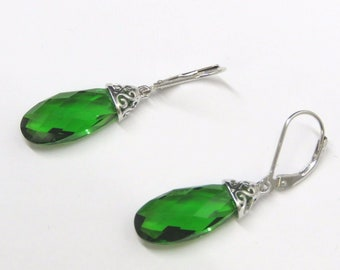 4591L Forest Green Helenite  checkerboard  Earrings in 925 Sterling Silver