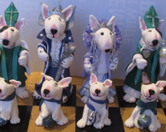 English bull terrier,  chess set, 32 pieces each unique , made to commission, bull terrier characters, dog chess set, bullie chess set