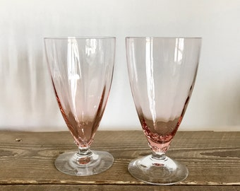Pair of Vintage Pink Footed Iced Tea Glasses