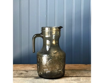 Vintage Embossed Glass Pitcher Made in Italy