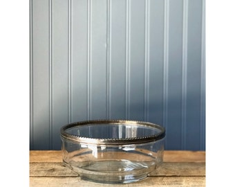 Vintage Silver Rim Glass Serving Bowl Made in Italy