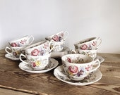 Johnson Brothers Sheraton Ironstone Set of 9 Tea Cups and Saucer Sets