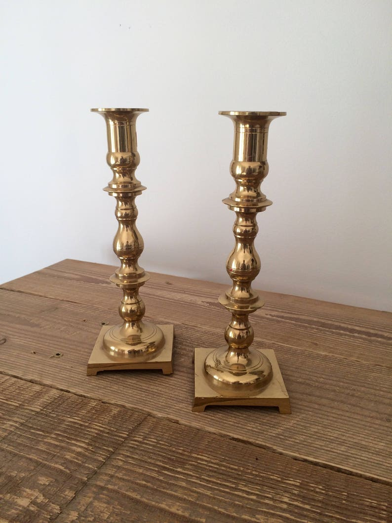 Pair of Vintage Tall Turned Brass Candleholders image 0
