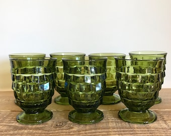 Set of 7 Vintage Whitehall Green Water Glasses