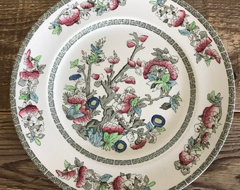 Vintage Johnson Brothers Indian Tree Multicolor Set of 5 Dinner Plates