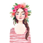 Print of Flower crown girl original watercolor painting. Pink lips, stripes flowers, floral. Fashion illustration lady, beauty, coral, braid