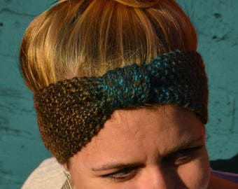 Handmade Bow Ear Warmer / Cozy Winter Knit Headband / Narrow