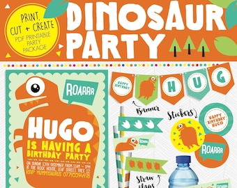 Printable Personalised WILD DINOSAUR Birthday Party Package * Invitation * Hat * Banner * Flags * Stickers Orange ROAR