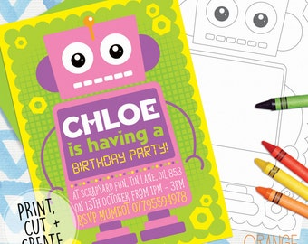 Robot invites etsy quick view printable personalised robot childrens girl boy birthday party invitations stationary filmwisefo