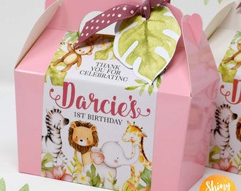 Personalised Zebra Animal Kids Sticker Party Sweet Cone Birthday Cake Box Gift