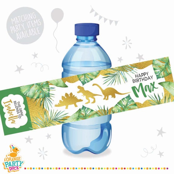 10 X Dinosaur Gold Green Palm Birthday Party Water Bottle Label Stickers