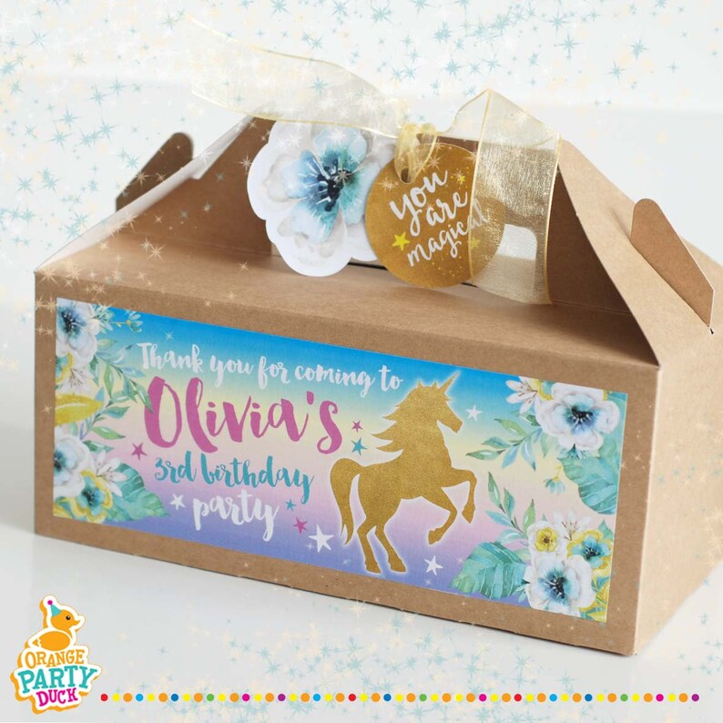 Gold UNICORN Flower Personalised Children/'s Kraft Favor Party Gift Box Bag Lunch